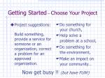 getting started choose your project