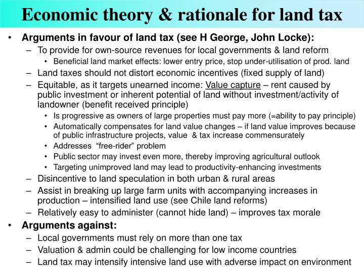 Economic theory rationale for land tax