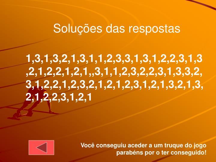 Soluções das respostas