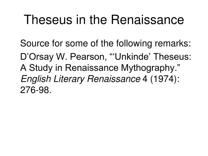 Theseus in the Renaissance