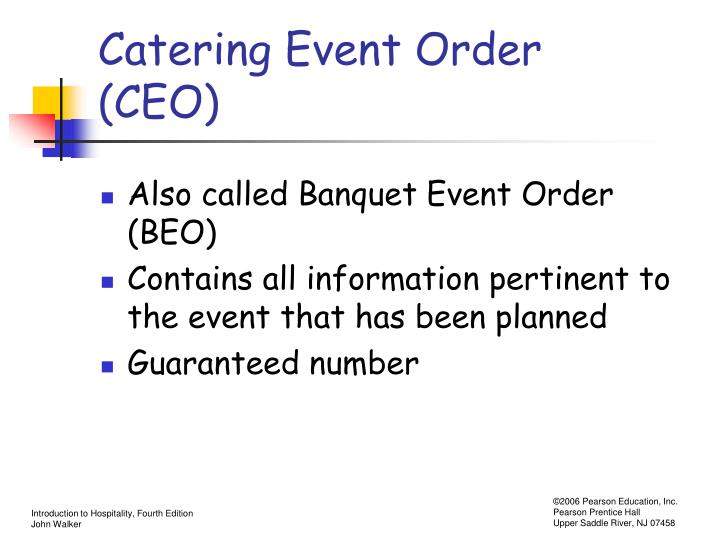 Catering Event Order