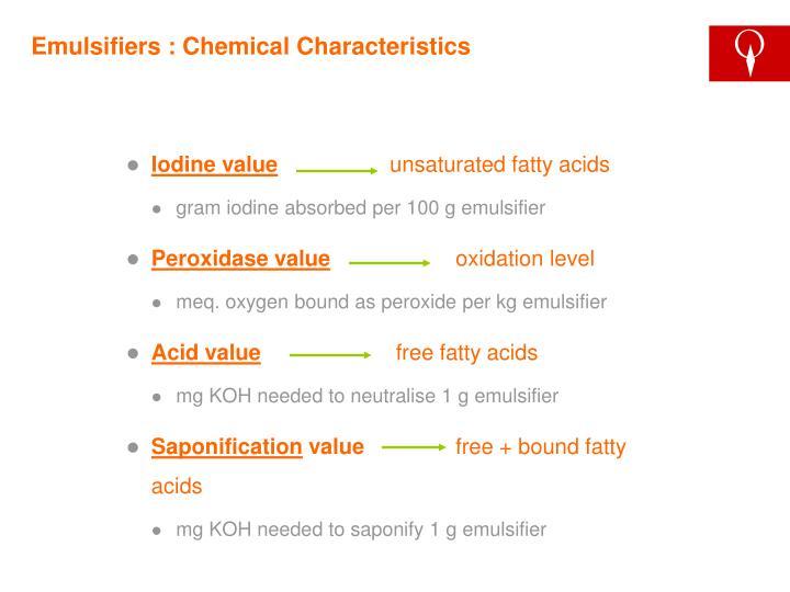 Emulsifiers : Chemical Characteristics