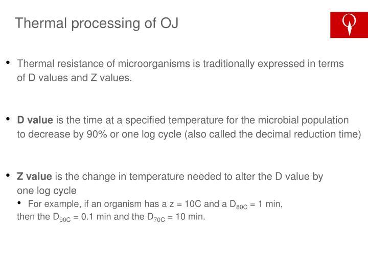 Thermal processing of OJ
