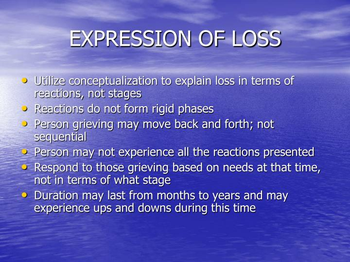 EXPRESSION OF LOSS