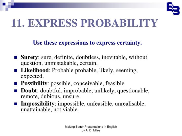 11. EXPRESS PROBABILITY