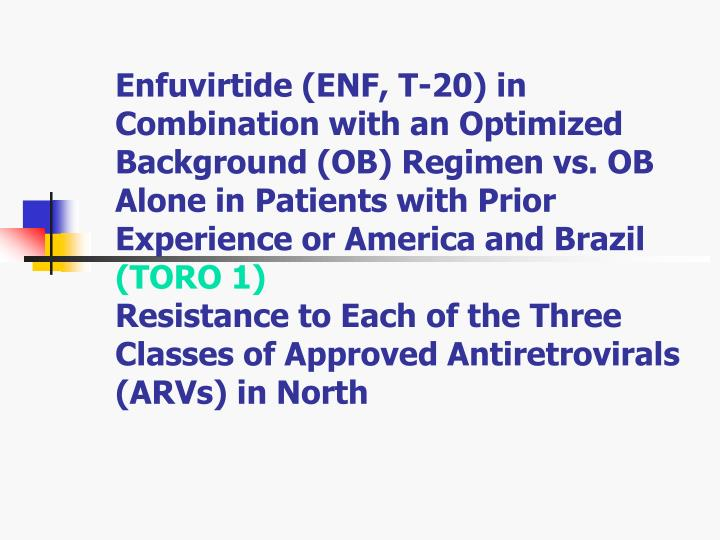 Enfuvirtide (ENF, T-20) in Combination with an Optimized Background (OB) Regimen vs. OB Alone in Patients with Prior Experience or America and Brazil