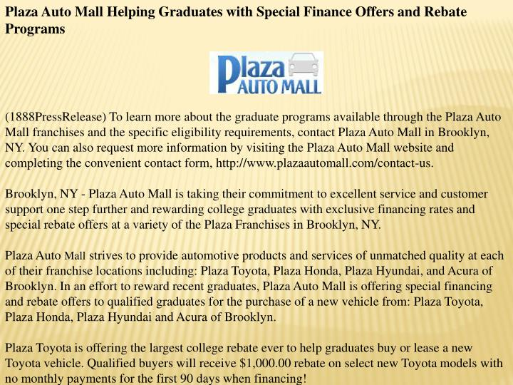 Plaza Auto Mall Helping Graduates with Special Finance Offers and Rebate Programs