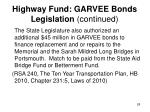 highway fund garvee bonds legislation continued