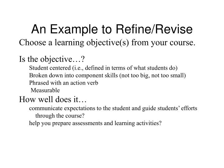 An Example to Refine/Revise