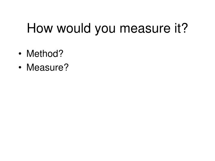 How would you measure it?