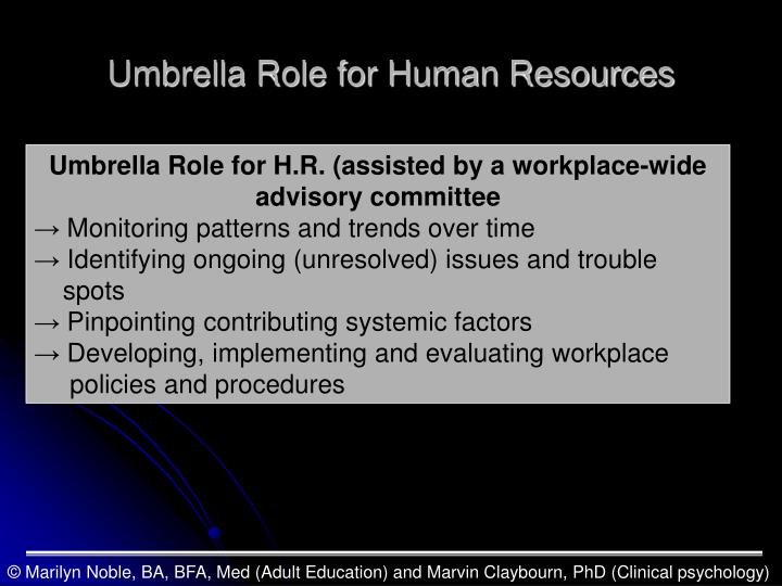 Umbrella Role for Human Resources