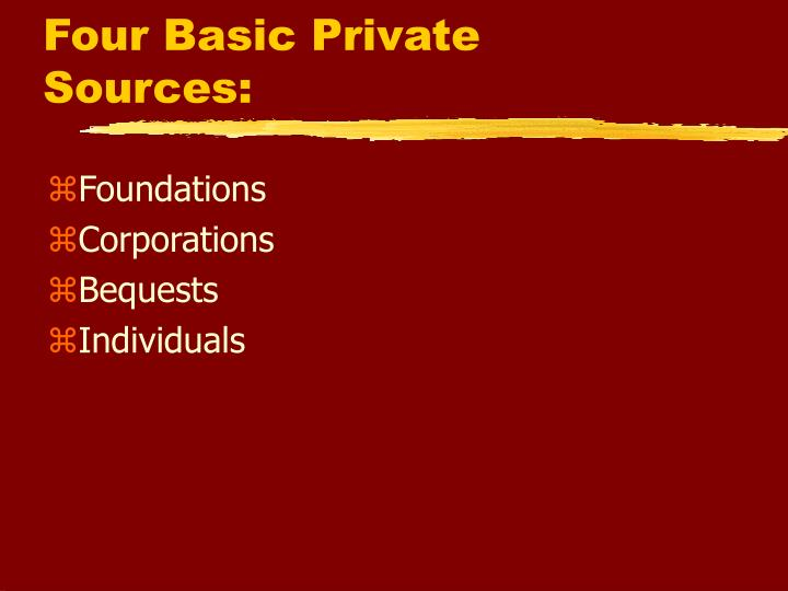 Four Basic Private Sources:
