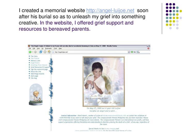 I created a memorial website
