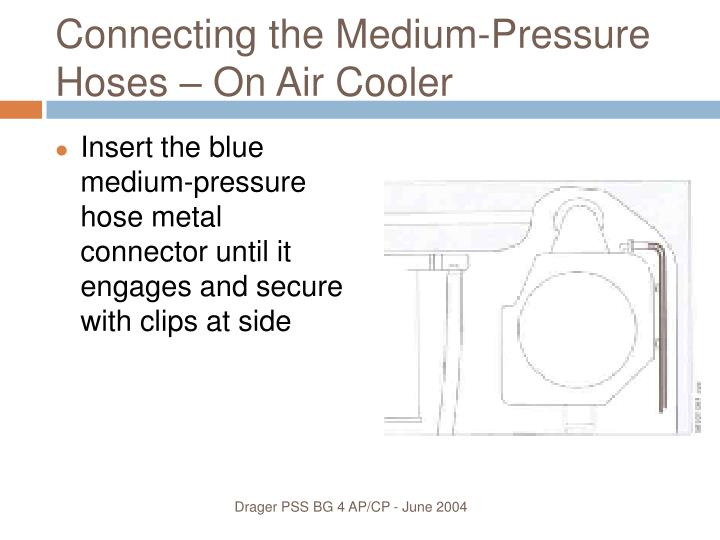 Connecting the Medium-Pressure Hoses – On Air Cooler