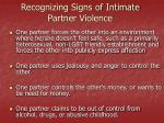recognizing signs of intimate partner violence1