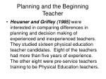 planning and the beginning teacher
