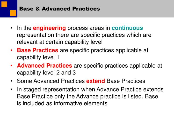 Base & Advanced Practices