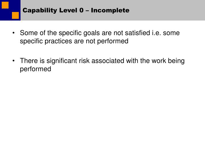Capability Level 0 – Incomplete