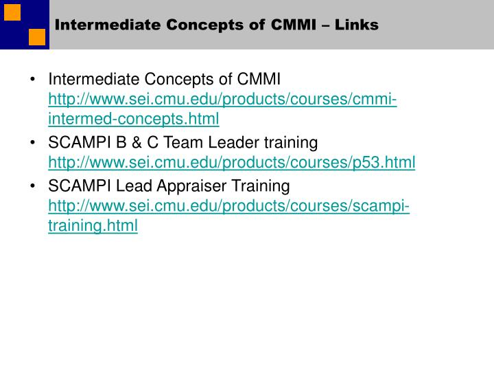 Intermediate Concepts of CMMI – Links