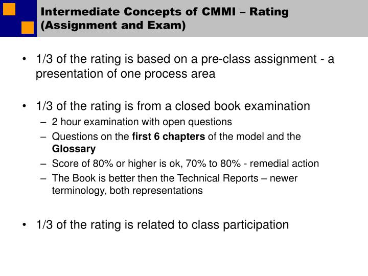 Intermediate Concepts of CMMI – Rating (Assignment and Exam)