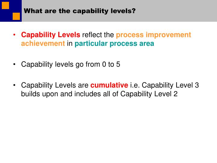 What are the capability levels?