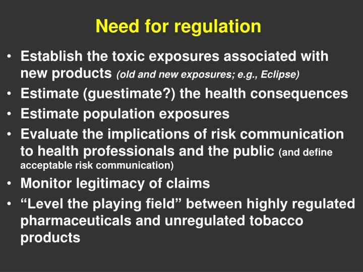 Need for regulation