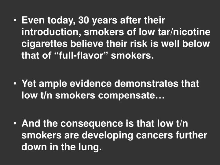"""Even today, 30 years after their introduction, smokers of low tar/nicotine cigarettes believe their risk is well below that of """"full-flavor"""" smokers."""