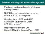 relevant teaching and research background