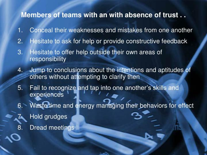 Members of teams with an with absence of trust . .