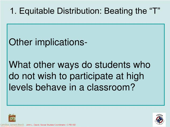 "1. Equitable Distribution: Beating the ""T"""