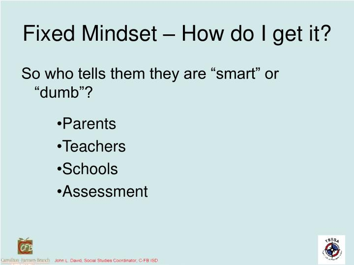 Fixed Mindset – How do I get it?