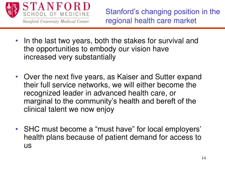Stanford's changing position in the       regional health care market