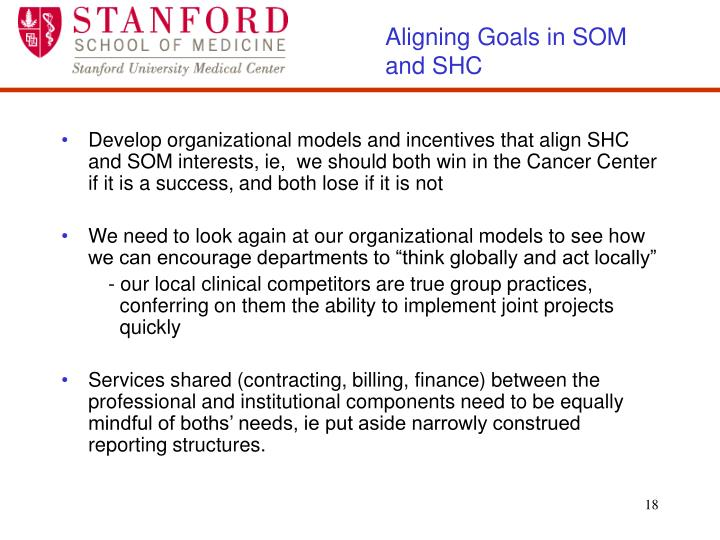 Aligning Goals in SOM and SHC