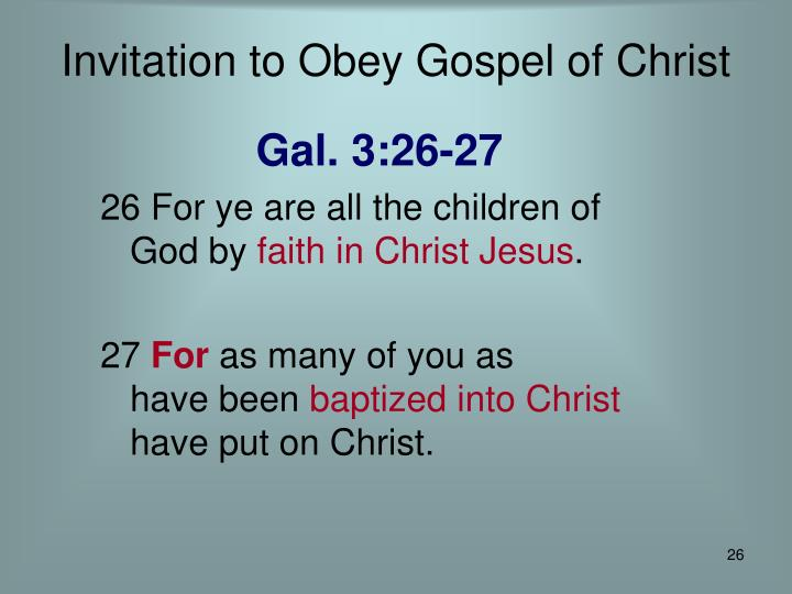 Invitation to Obey Gospel of Christ