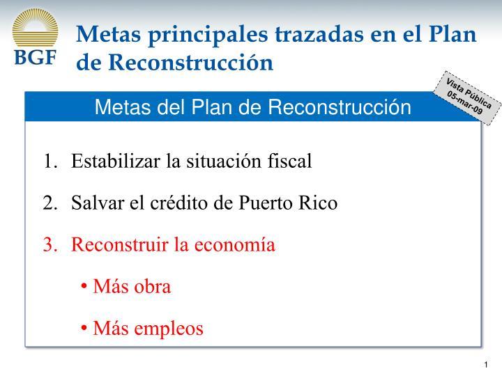 Metas principales trazadas en el Plan de Reconstrucción