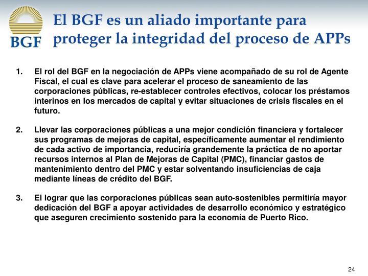 El BGF es un aliado importante para proteger la integridad del proceso de APPs