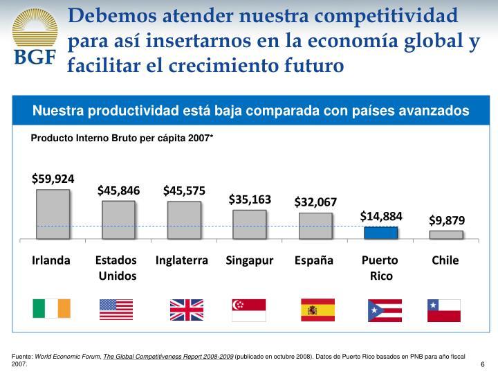 Debemos atender nuestra competitividad para así insertarnos en la economía global y facilitar el crecimiento futuro