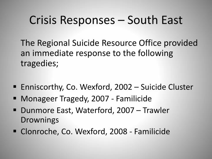 Crisis Responses – South East