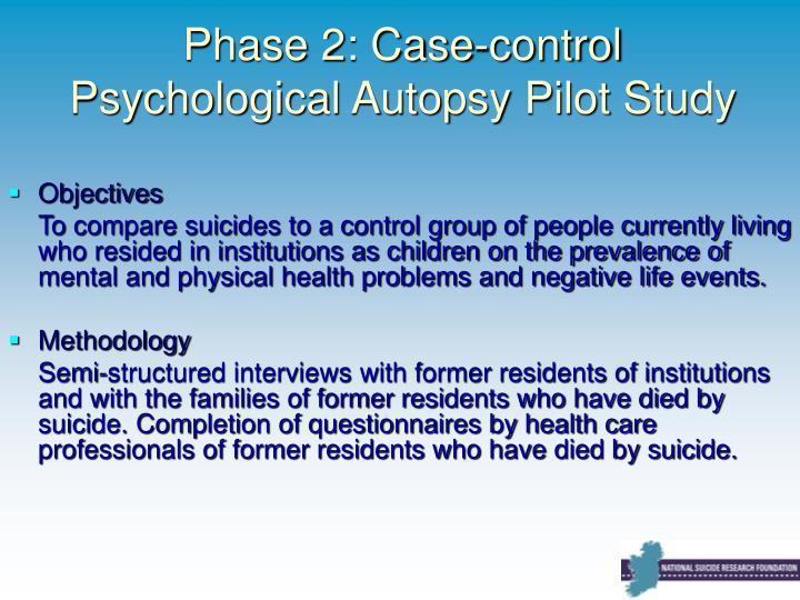 Phase 2: Case-control Psychological Autopsy Pilot Study