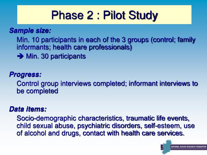 Phase 2 : Pilot Study