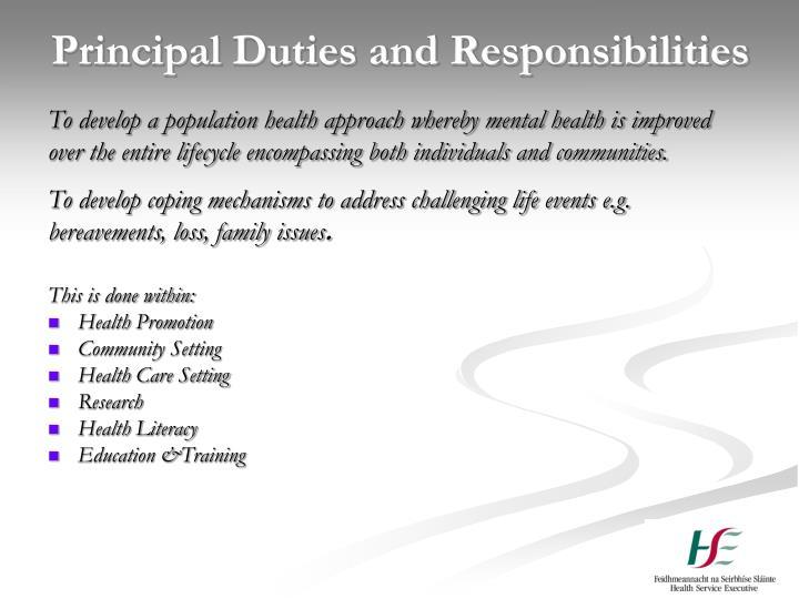 Principal Duties and Responsibilities