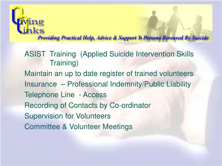 ASIST  Training  (Applied Suicide Intervention Skills        Training)