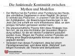 die funktionale kontinuit t zwischen mythen und modellen