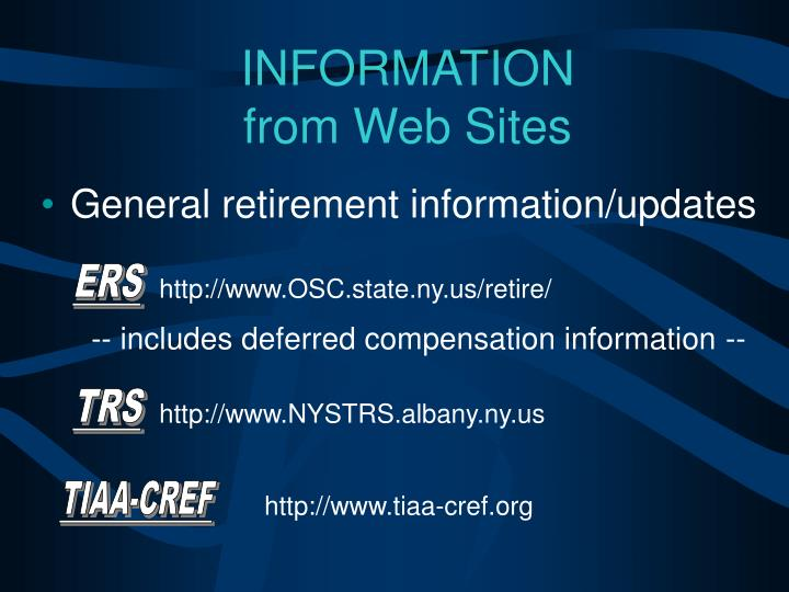 General retirement information/updates