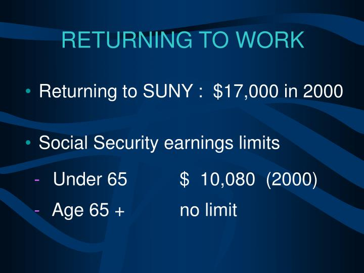 Returning to SUNY :  $17,000 in 2000