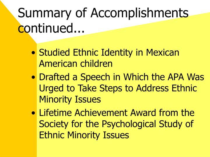 Summary of Accomplishments continued...