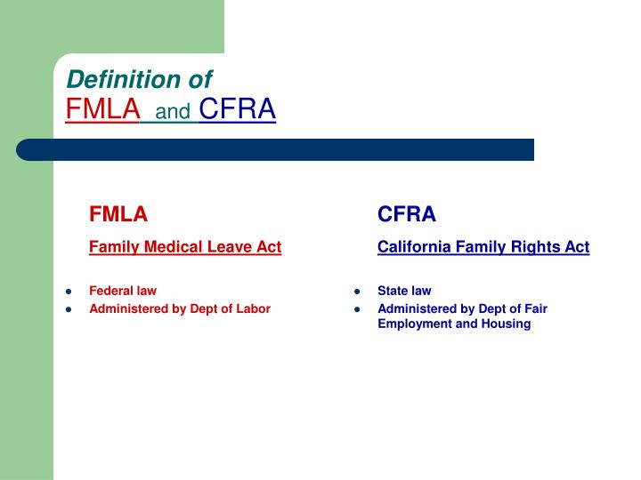 Definition of fmla and cfra