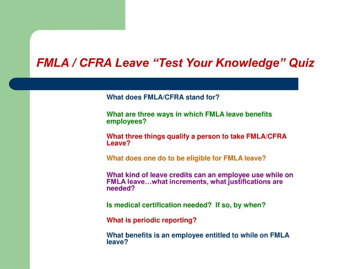 Fmla cfra leave test your knowledge quiz