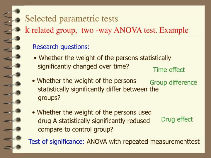 Selected parametric tests