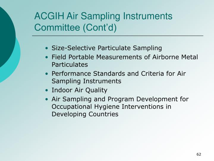 ACGIH Air Sampling Instruments Committee (Cont'd)